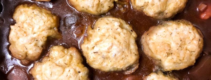 vegan bean stew with dumplings is an alternative to beef stew